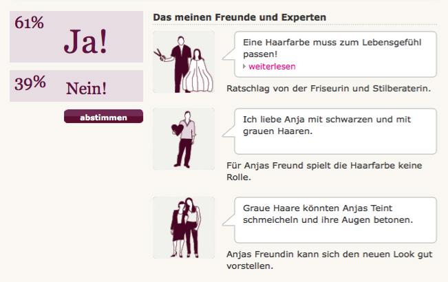 """""""Die Entscheidung"""", Rubrik auf Brigitte Woman Online mit Pictogrammen von Christine Klein"""